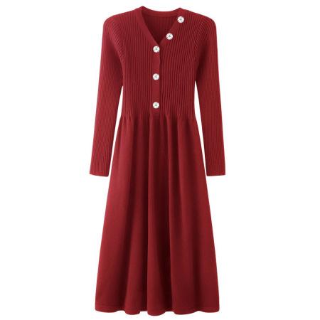 Afayedi V领长袖裙摆套头羊毛衫(三色可选)_59-6131·酒红
