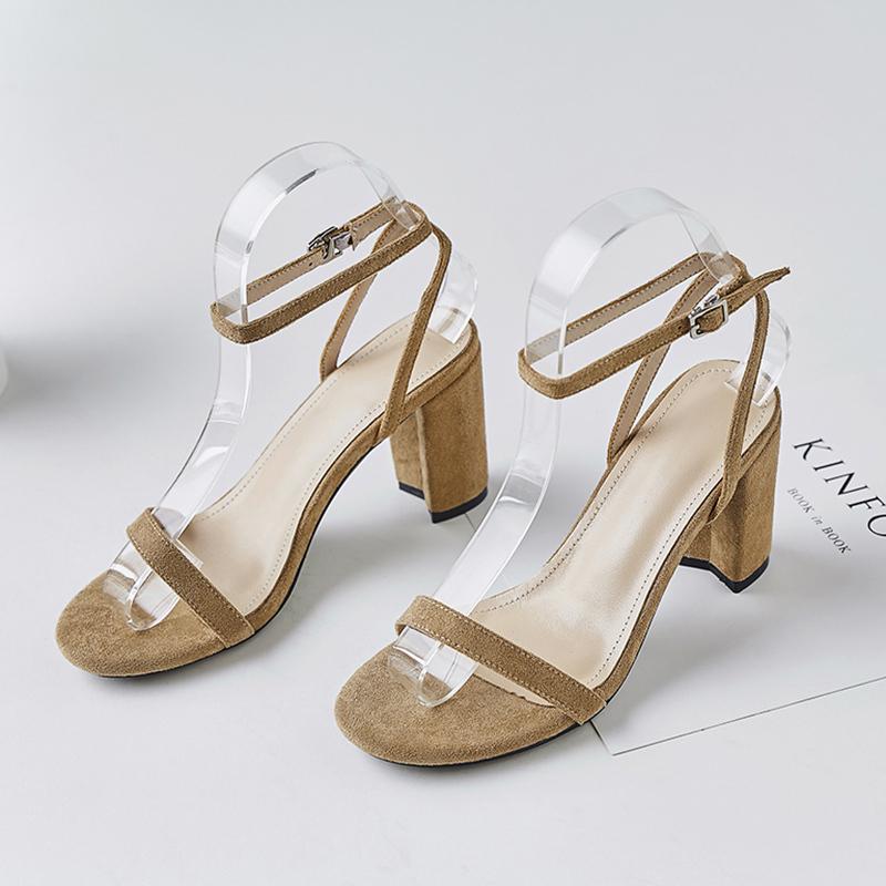 Naiyee奈绮儿 一字扣带高跟露趾粗跟凉鞋女鞋子·MZR-3-557-黄色