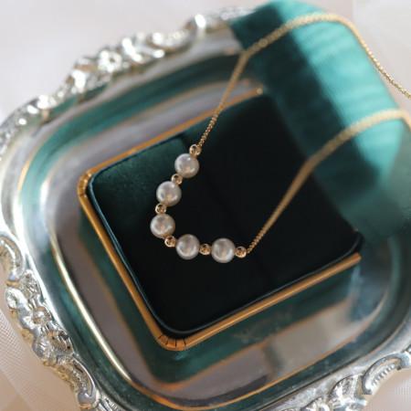 香港直邮 温婉岁月14K包金淡水珍珠金豆豆项链 买送戒指1枚 BX8
