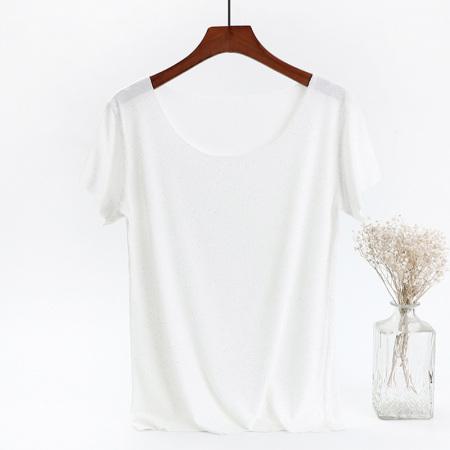百蝶依BJL撒银圆领宽肥短袖打底衫3件组·白+黑+灰