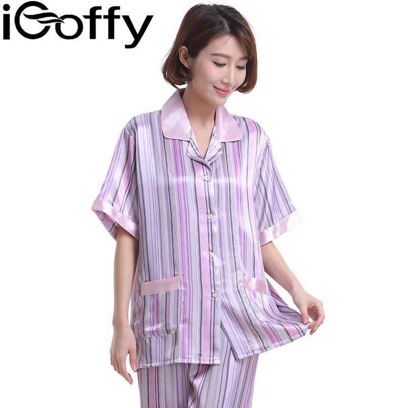 欧菲(icoffy) 女士条纹短袖雪纺家居服套装(OFSY005)-浅紫条纹