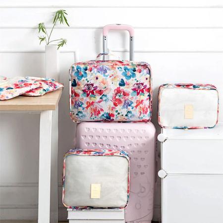 [JM]旅行衣物收纳整理包6件套 花之春·粉色