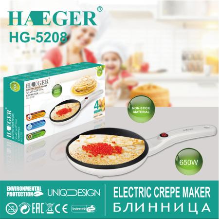HAEGER薄饼机春饼机铛春卷皮多功能家用煎饼锅烙饼锅电饼铛HG-5208