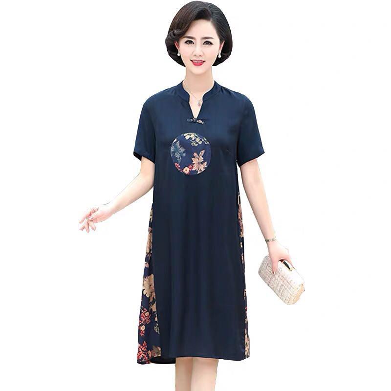 夏季中国风真丝短袖中老年连衣裙·蓝色