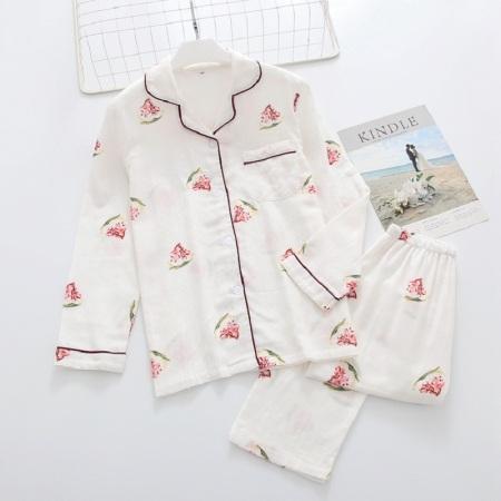 纱布睡衣套装·长袖+长裤(西瓜白色)  长袖+长裤(西瓜白色)