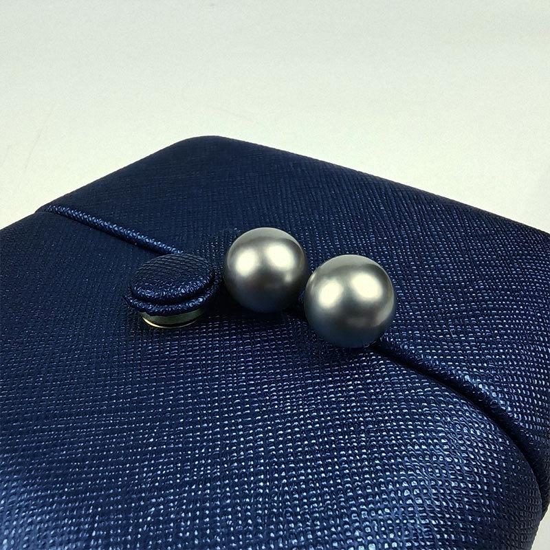 岛上明珠 大溪地海水强光铂金灰珍珠18k金耳钉简约款11-12mm·铂金灰