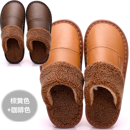 头层牛皮厚底防滑家用拖鞋*2双(男款+女款)·女款黄棕+男款咖啡