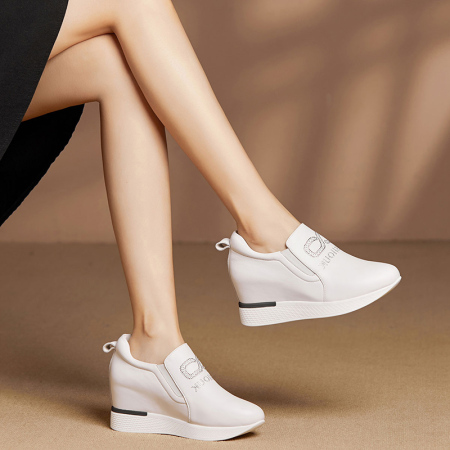Garthphil 休闲鞋女舒适真皮乐福鞋女鞋l20567·白色