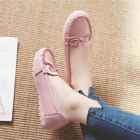莎拉蔓703牛皮时尚超软底休闲鞋·粉色1626