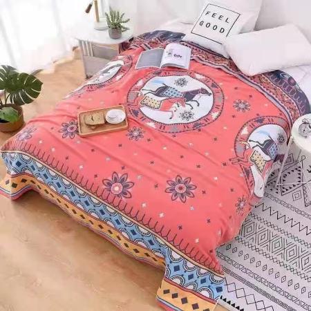 维众草木染六层纱布毯·粉/多色