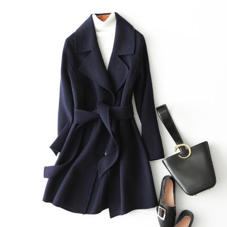 安柘娜新款修身显瘦毛呢外套时尚羊绒大衣HF11703·藏青