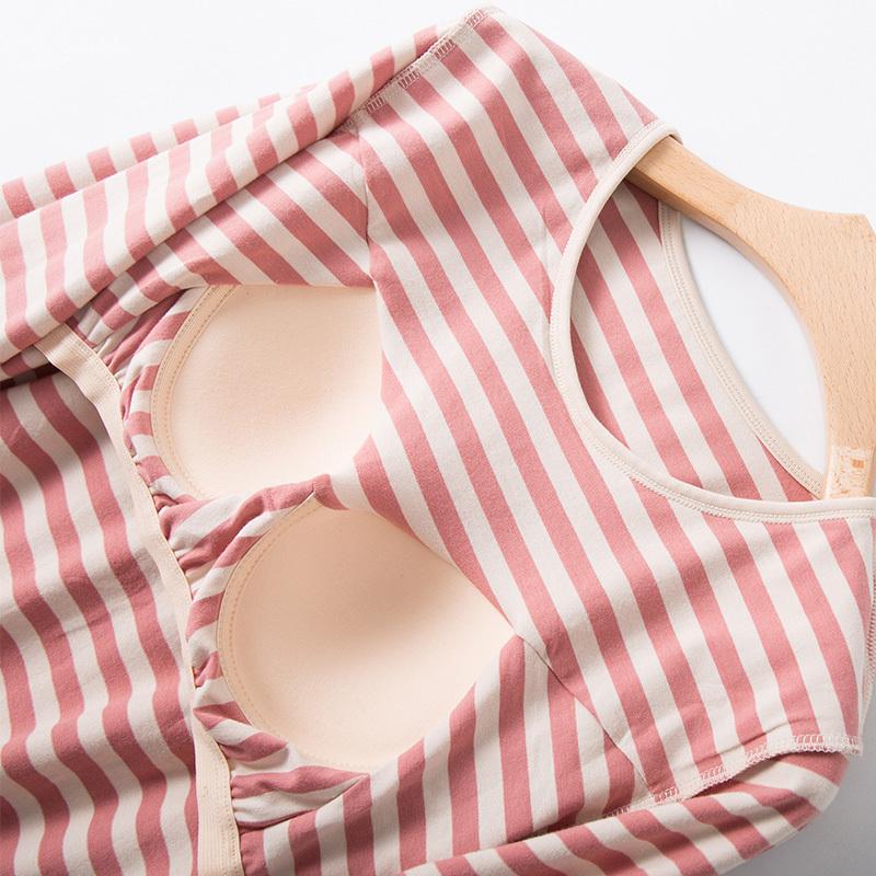 纯棉文胸一体式家居服套装·砖红色条纹  砖红色条纹  砖红色条纹