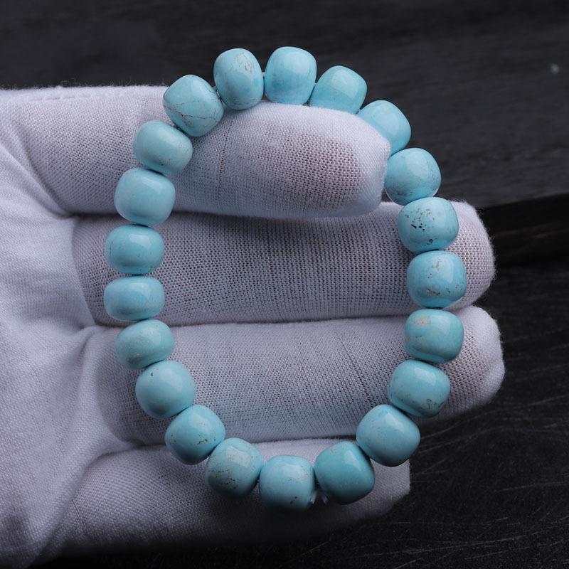 (收藏)老冯记天然原矿绿松石高瓷蓝老型珠路路通手链D