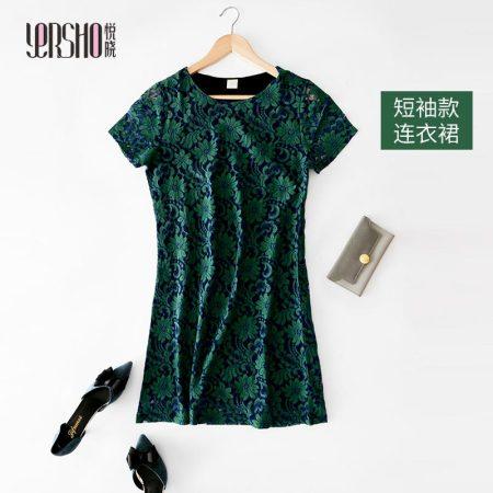 悦晓 桑蚕丝气质蕾丝连衣裙-绿色--权威质检100桑蚕丝!聚会!旅行!拍照!·半袖绿  半袖绿