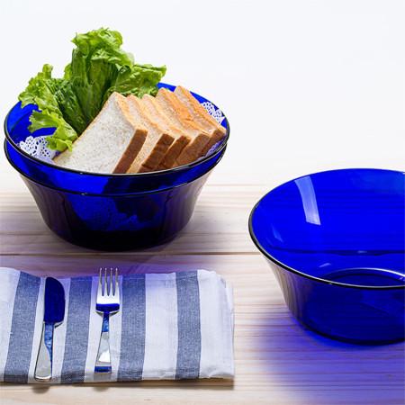 DURALEX多莱斯 法国进口餐具套装大沙拉碗两只装 宝蓝色