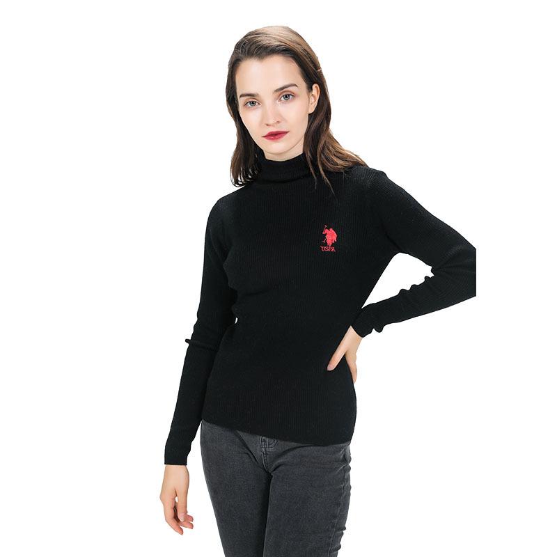 美国U.S.POLO ASSN.100%羊毛羊毛衫女款·黑色