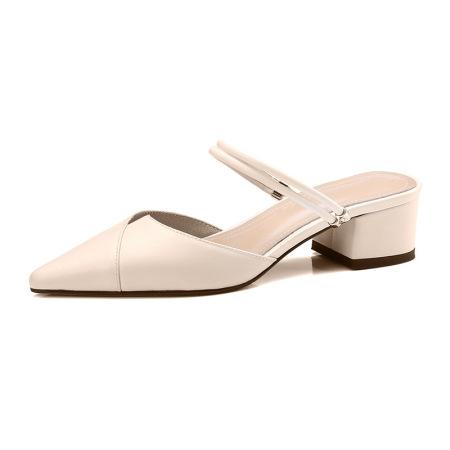 Naiyee奈绮儿 牛皮两穿凉鞋穆勒鞋粗跟低跟凉拖鞋女鞋·MK-1807-米白色