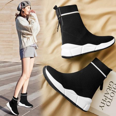Garthphil 袜子鞋女内增高短靴百搭雪地靴l007062-18403·黑色猪皮