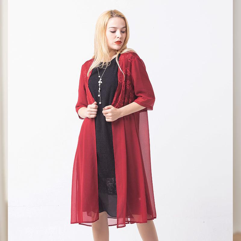 恒源祥FAZEYA立体绗绣真丝连衣裙·主品黑色+赠品红色(女)