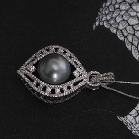 (限量)银生纯银镶嵌12-13mm灰黑色珍珠吊坠含银链