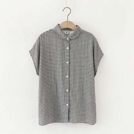 谜存 日系双层婴儿纱纯棉透气宽松开扣短袖衬衫·格子