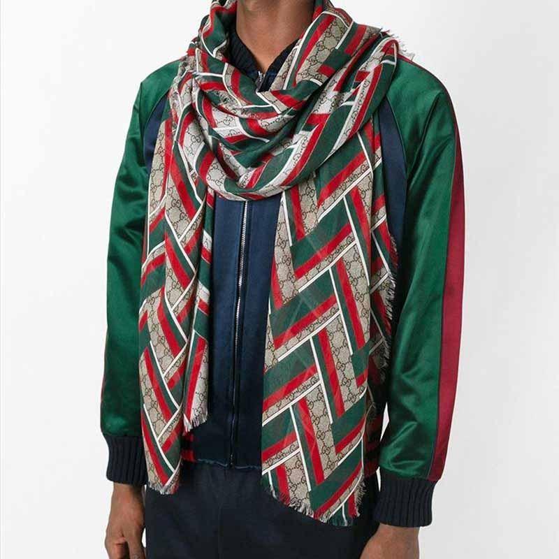 GUCCI经典双G绿红绿条长款围巾