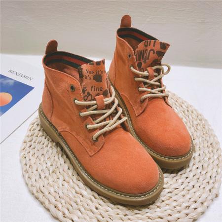 Garthphil 磨砂牛皮内增高低跟百搭马丁靴女靴裸靴·x001-红棕猪