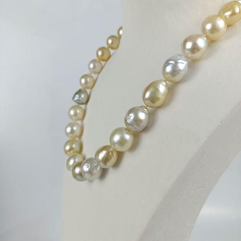 岛上明珠 天然海水巴洛克金珠项链12-14mm·金白