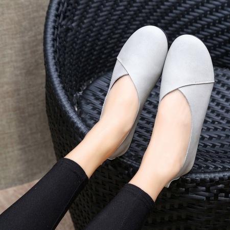 2021新款手工纯牛皮乳胶垫女士休闲鞋·灰色