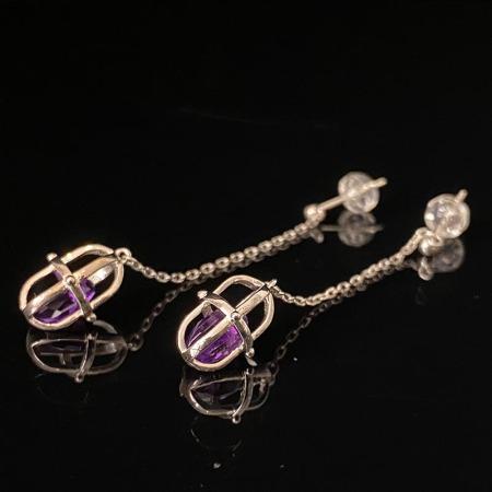 慕古 925银紫水晶耳环