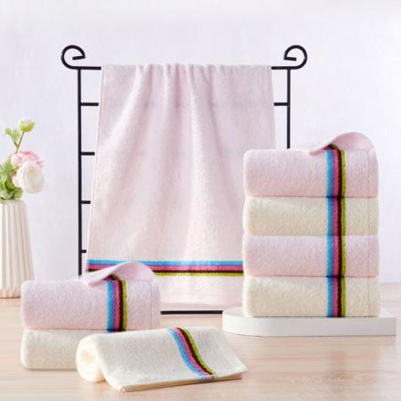 洁玉纯棉素色毛巾8条装JY-1267F粉色米色各4条