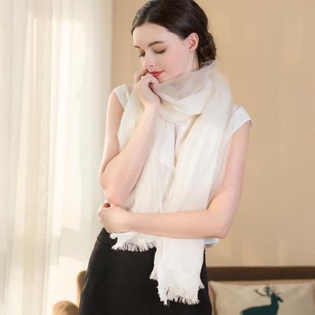 佰丝韵 桑蚕丝+棉双层围巾女士多功能披肩百搭复古长丝巾BSY8018·白色