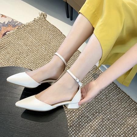 法国Naiyee奈绮儿 一字扣尖头粗跟包跟凉鞋女鞋子·MZR-19-81-米白色