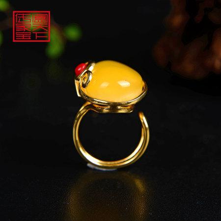阖天下传家宝925银蜜蜡戒指HH0020·黄色