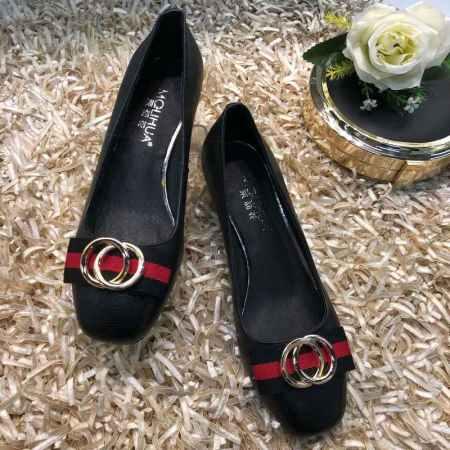 绿红绿大牌同款牛皮单鞋(两色可选)·黑色017C-6670