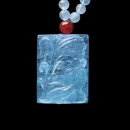映时年年有余海蓝宝石吊坠挂件