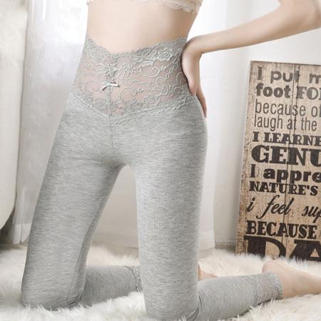 丁摩 蕾丝花边高腰弹力打底裤 修身显瘦薄款衬裤9803·麻灰