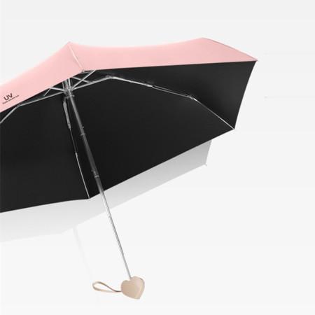 泳伶爱心手柄五折太阳伞·粉色