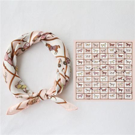 香港直邮 格子小马复古丝巾·粉米色