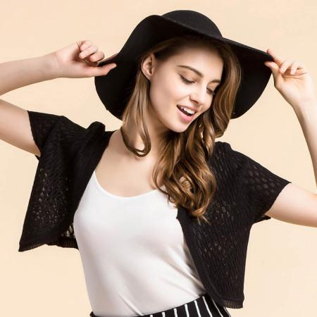 佰丝韵 夏季新款真丝小披肩女外套薄款小坎肩桑蚕丝开衫防晒衣空调BSY7016·黑色