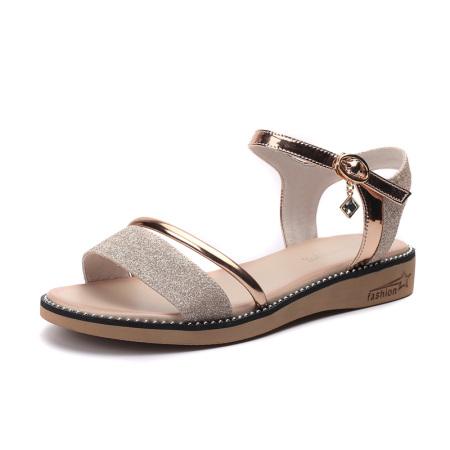 Garthphil 仙女风一字带时尚百搭大码凉鞋女l005002-3940·金色·金色