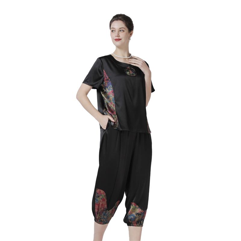 英国JANCYBONY女士富贵人生桑蚕丝套装·黑色
