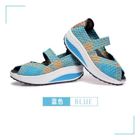 适语鱼嘴厚底运动休闲凉鞋·蓝色