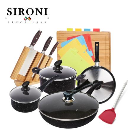 斯罗尼(SIRONI)意大利进口麦饭石不粘锅家用锅具6件套.黑色