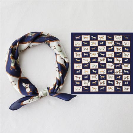 香港直邮 格子小马复古丝巾·藏青色