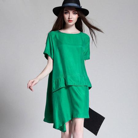 2019夏季瑅艾大码时尚宽松遮肉铜氨丝连衣裙(三色可选)·绿色