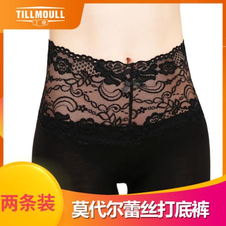 丁摩 蕾丝花边高腰弹力打底裤2条组 修身显瘦薄款衬裤 W9803(混色备注)·黑色*2