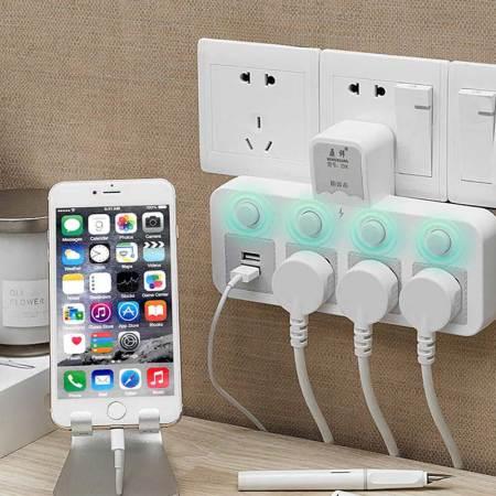 多功能插头无线USB转换器带灯插排插座·白色