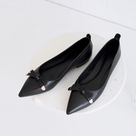 奈绮儿Naiyee 小蝴蝶结平底浅口单鞋女鞋子·XMN-DX2083黑色