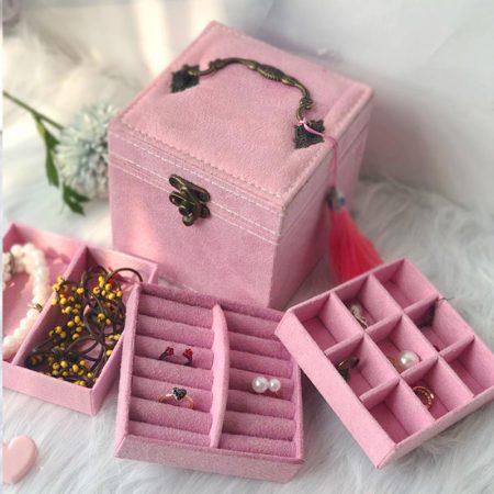 迈可维宫殿绒布三层首饰收纳盒·粉红色